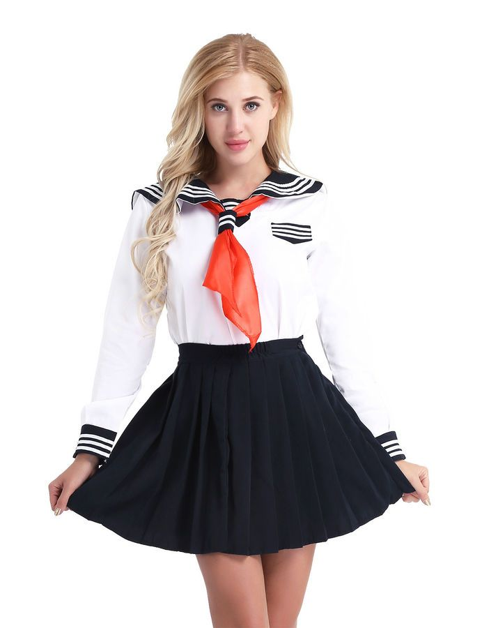 Women/'s Halloween School Girl Cosplay Costume Sailor Students Uniform Plus Dress