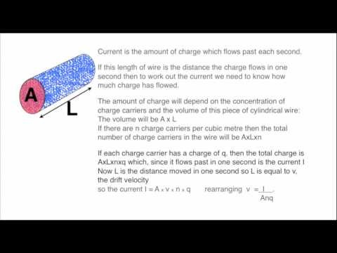 The drift velocity of charge in a conductor