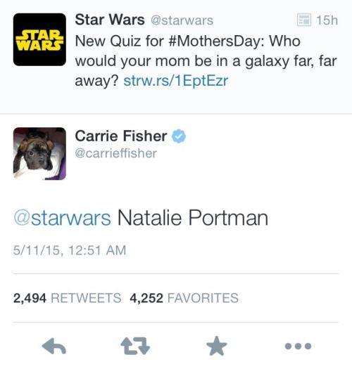I think Carrie Fisher wins that question. << Is that Gary Fisher as her profile picture?!