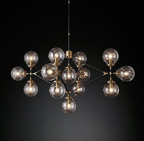 Bistro Globe Lattice Chandelier Brass and Bronze | RH Modern