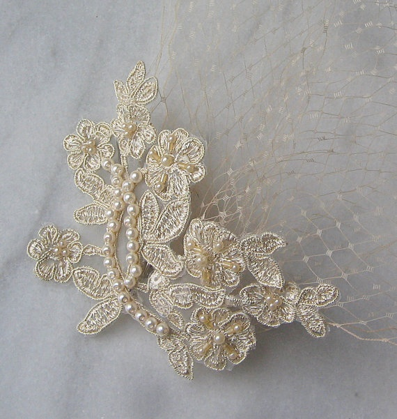 Birdcage Veil and Lace Bridal Fascinator Vintage by TheRedMagnolia, $58.00