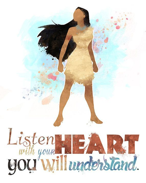 "Pocahontas ""Listen with Your Heart"" 8×10 Printable Poster — Digital / Instant Download / Disney Princess / Wall Art / Home Decor / Quote"