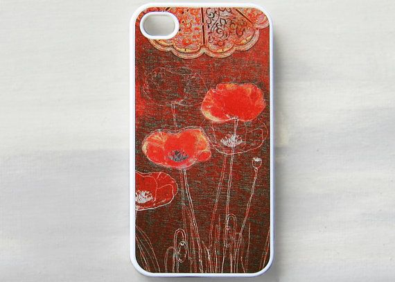 Poppies iPhone 4 case, iPhone 4s case, drawing red flowers iPhone 4 cover, iPhone 4s cover on Etsy, $15.00