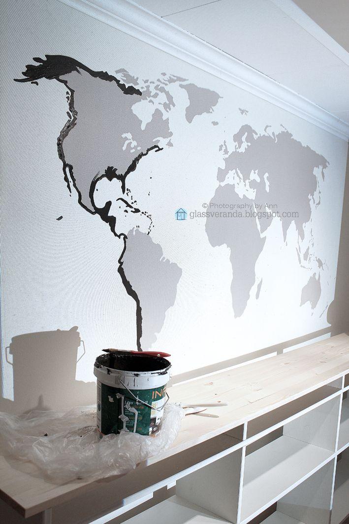 Glassveranda: Gutterommet - Del 2: Maler et 1 x 2 meter stort verdenskart på veggen!