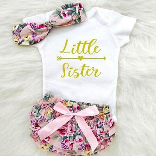 Newborn Baby Girls Romper Tops Jumpsuit Tutu Pants Headband Outfits Clothes Set