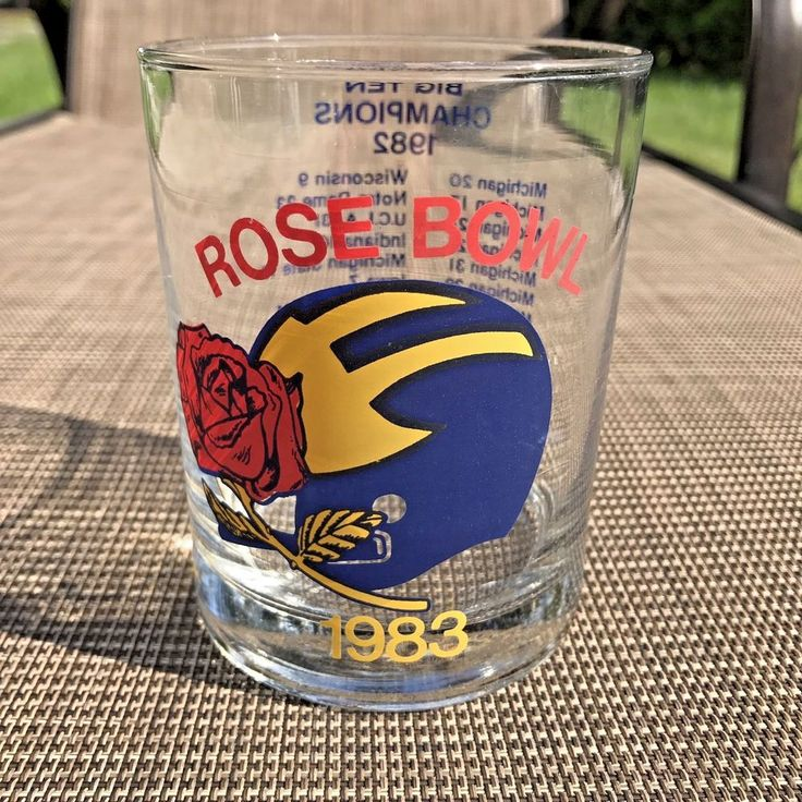Michigan Wolverines 1983 Rose Bowl Game Big 10 Champions Glass Cup GO BLUE  | eBay