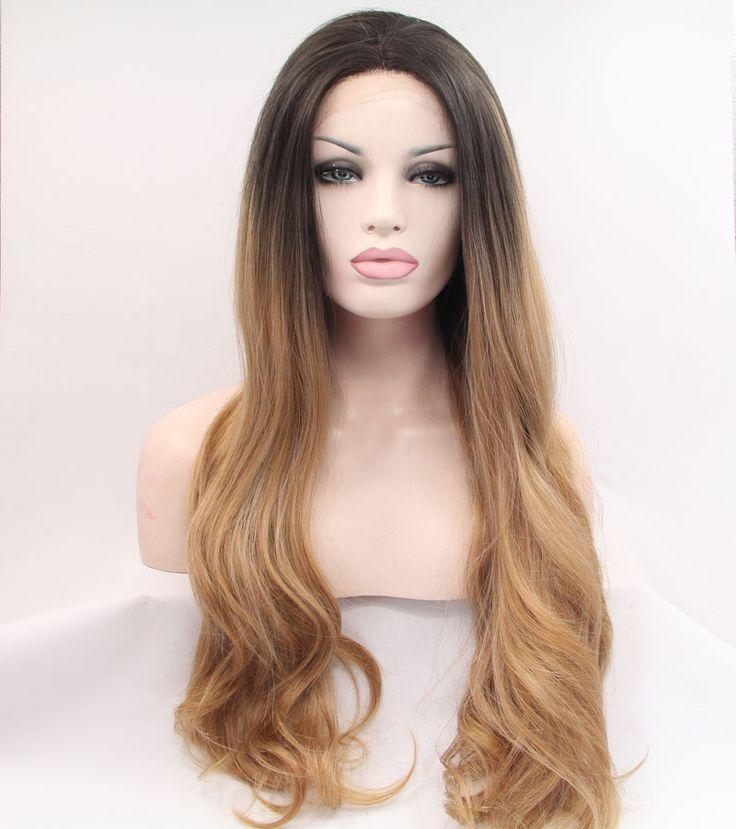 Premium brown ombre wigs dark roots Brazilian Long natural loose wave body wave synthetic lace front wig heat resistant fiber