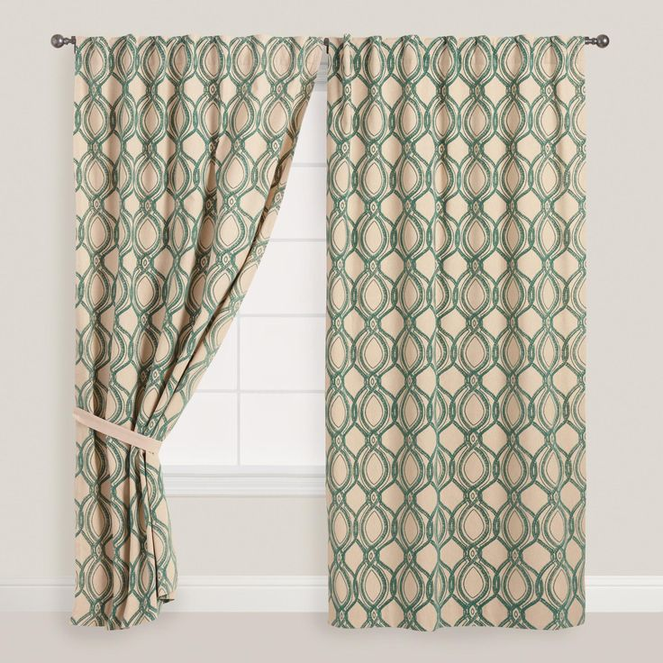 Featuring deep blue flocking in an oversized trellis pattern, our exclusive chambray curtains make a sophisticated statement.