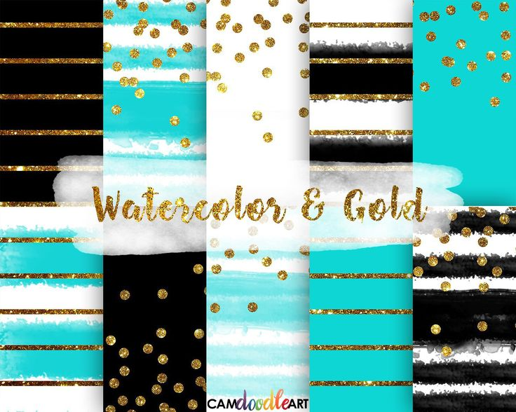 Watercolor and Gold Digital Paper Pack,Black and Teal, Gold Confetti, Modern Pattern, Stripes Pattern, Scrapbooking Paper,Watercolor Stripes by CamDoodleArt on Etsy
