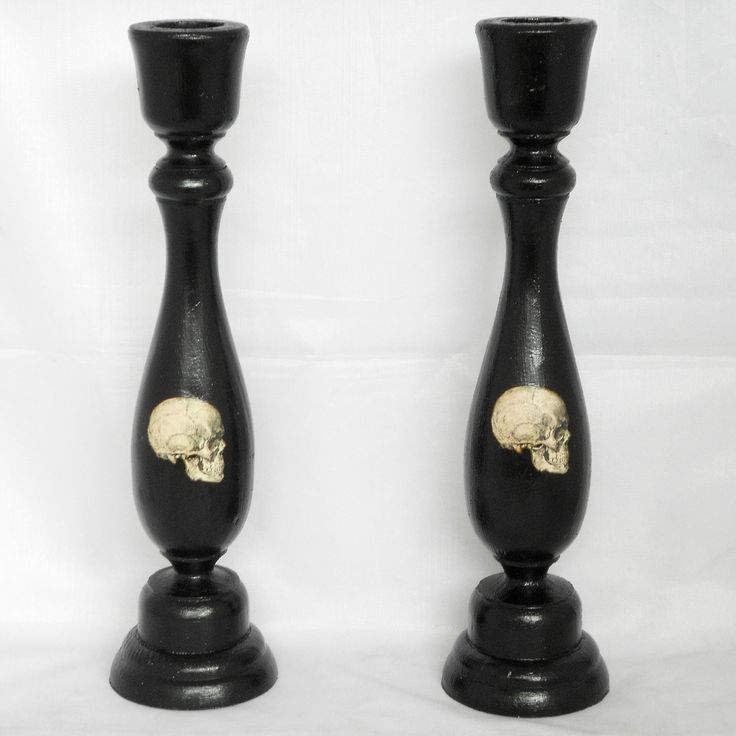 Gothic Home Decor - Black Candle Holder - Skulls. $19.00, via Etsy.