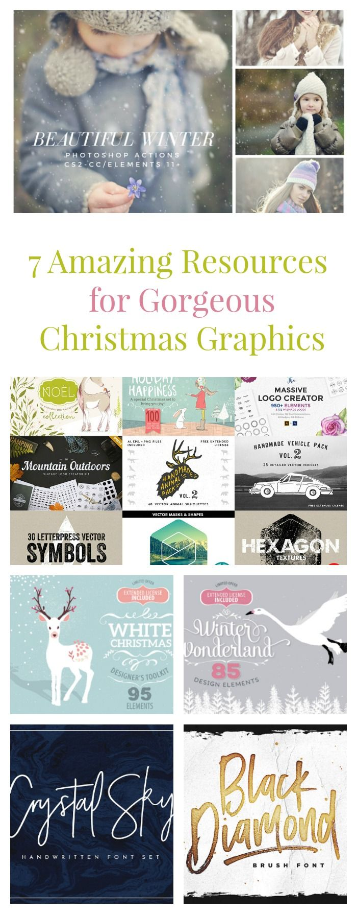 Want to make your holiday graphics really stand out? Check out seven fabulous resources to help you to create the most stunning blog graphics, greeting cards and family Christmas newsletters! (AD)