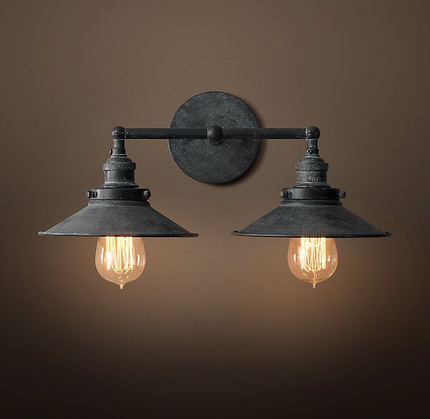 20th C. Factory Filament Metal Double Sconce - Weathered Zinc $219 at restoration hardware....$25 SHIPPING AND NOT AVAILABLE UNTIL FEBRUARY