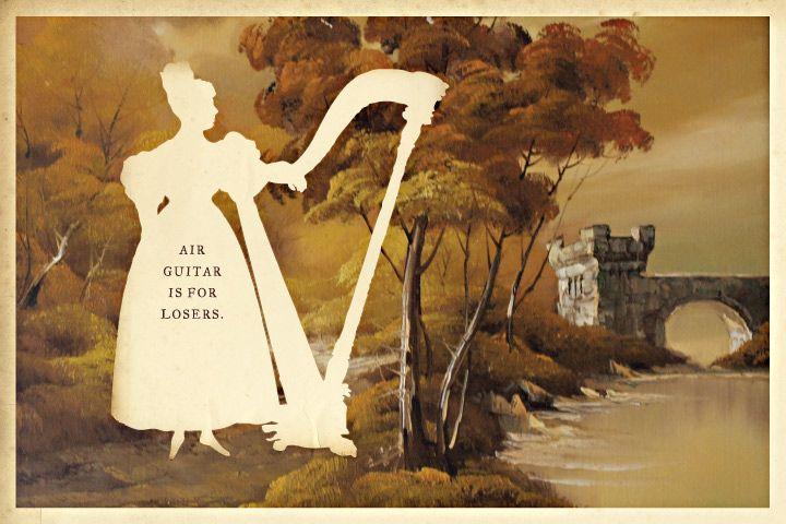 Silhouette masterpiece theater, by Wilhelm Staehle.: Silhouette Art, Air Harp, Fun Projects, Masterpiece Theatre, Classy Harp, Silhouette Masterpiece, Design Wilhelm, 09Airguitar Jpg, Air Guitar