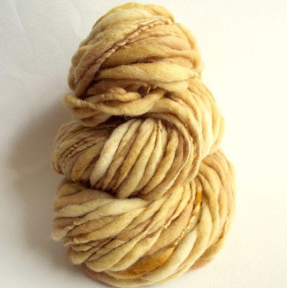 Thick and Thin cream / caramel knitting yarn by thefibretree