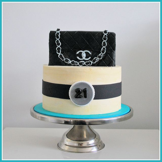 Chanel Handbag Cake, teal, cream, black, 21st cake