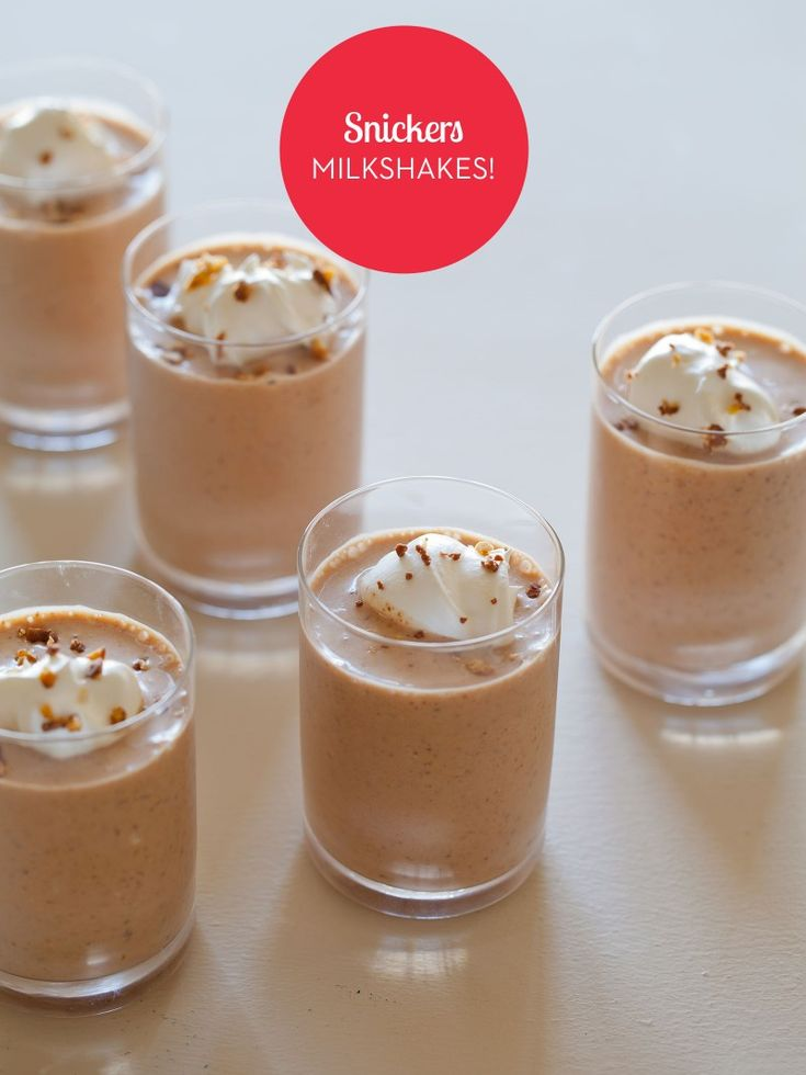 Snickers Milkshakes by spoonforkbacon.com.  The book is Tiny Food Party so I'm thinking these are pictured in shot glasses.