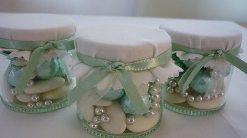 Mint/Sage Green and Ivory filled sweet jar wedding favour..Don't forget sage and ivory personalized napkins to match your color scheme. #itsallinthedetails www.napkinspersonalized.com
