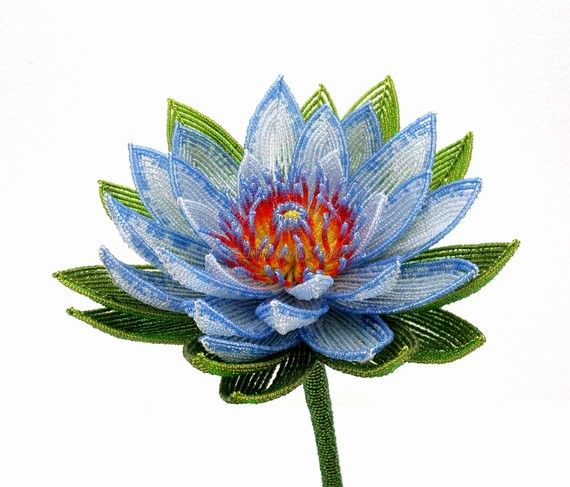 Gorgeous french beaded lotus waterlily flower, made of tiny seed beads, by Rosewind Studio on etsy.  Spectacular!