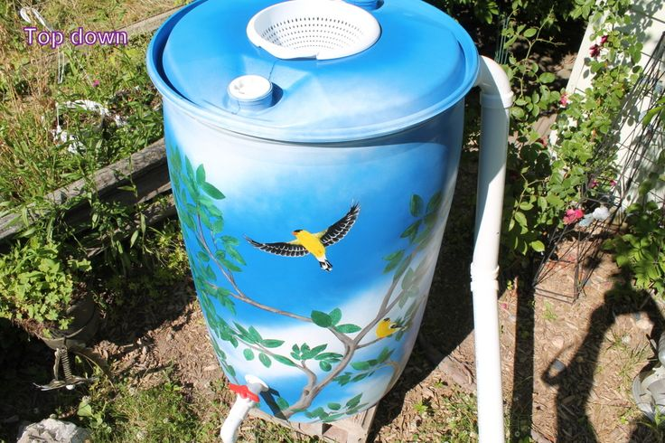 """-SOLD- Rain barrel #001 """"The Cardinal's Tree"""" Photo #3 of many. Complete with 5' of overflow tubing, colored cleanable aquarium gravel filter system & all hardware parts are replaceable. One of a kind, hand painted with Krylon Fusion paint for plastic."""