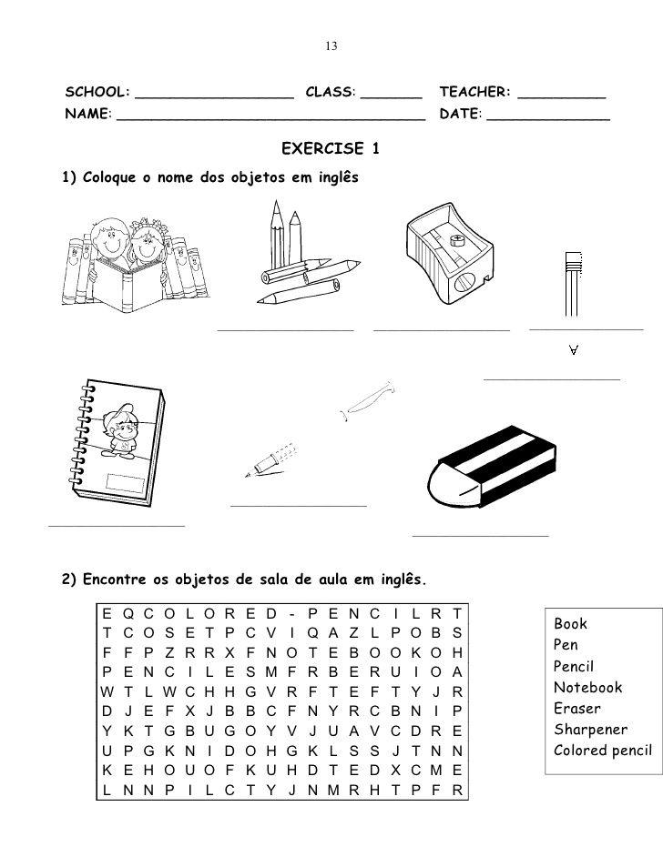 Resultado de imagem para atividades com school objects sexto ano ...