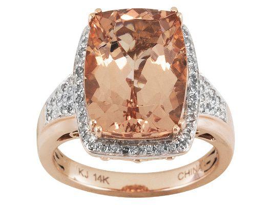 5.20ct Cushion Cor-de-rosa Morganite (Tm) With .21ctw Round Diamonds 1