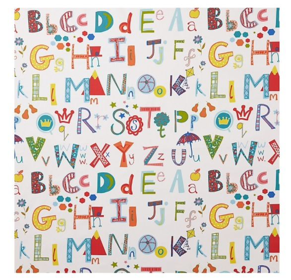 Multicoloured Alphabet curtain fabric from John Lewis.