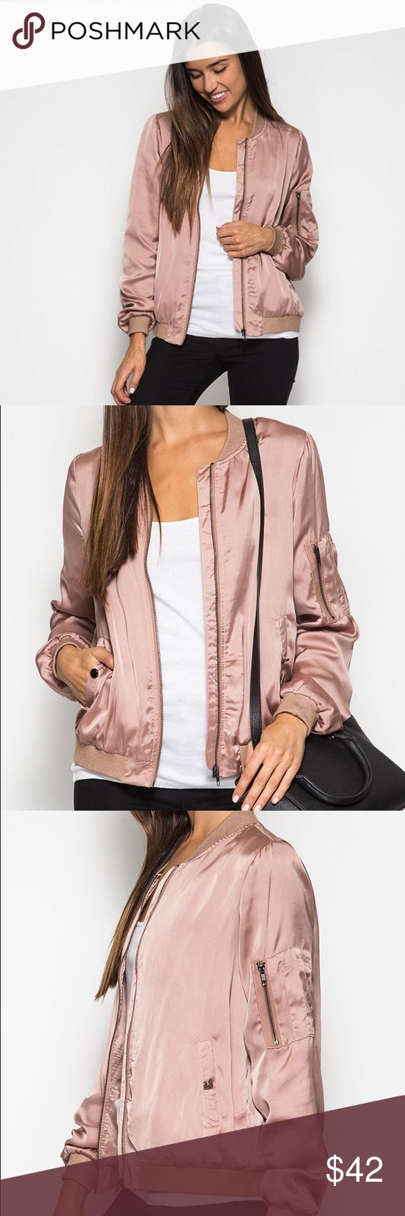 Rose gold bomber jacket Satin looking bomber jacket with side pocket in rose gold color Jackets & Coats
