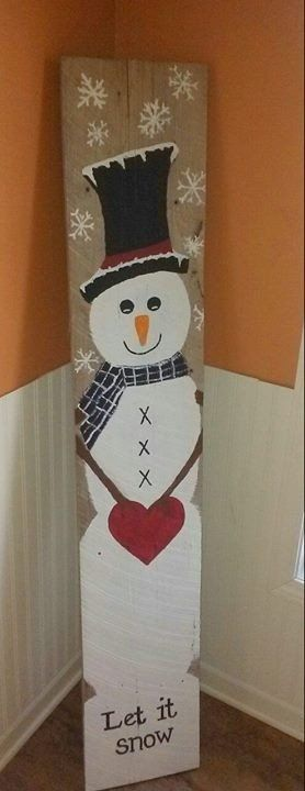 "Large 4' tall x 10"" wide snowman sign hand painted on reclaimed wood."