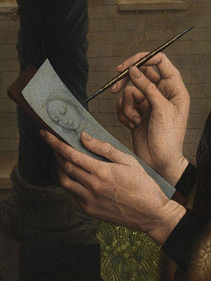 Rogier van der Weyden, San Luca dipinge il ritratto della Vergine, 1440 c., Boston, Museum of Fine Arts, olio su tavola.