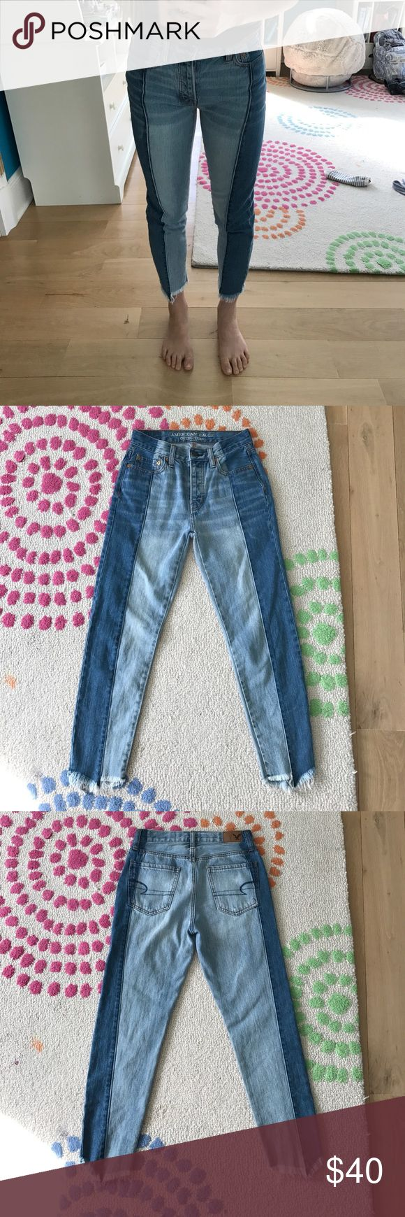 American Eagle Two Tone Vintage Hi Rise Jeans Size 00  2tone light wash/medium wash american eagle jeans vintage hi rise style. These are absolutely adorable and fit right above the ankle. They have a 5 button hi rise closure, a cute frayed hem, and AE back pocket stitching. I wish these fit me but they are too small! Any questions please message me! These have never been worn but there are no tags! Price can be negotiated within reason! Waist: 23.5   Hip: 33   Rise: 10-10.5   Inseam: 25…