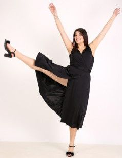 Wrap belted midi dress - Black