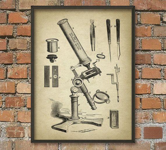 Antique Microscope Print 1  Biology Wall Art Poster