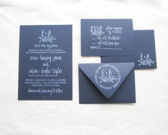Wedding Invitation Suite - Wedding Invitation, RSVP, Address and Monogram Stamps - Custom Wedding Invite - Invitation Stamp - Succulent