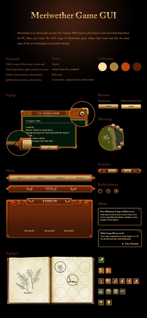 Meriwether Game GUI by Daouna Jeong, via Behance