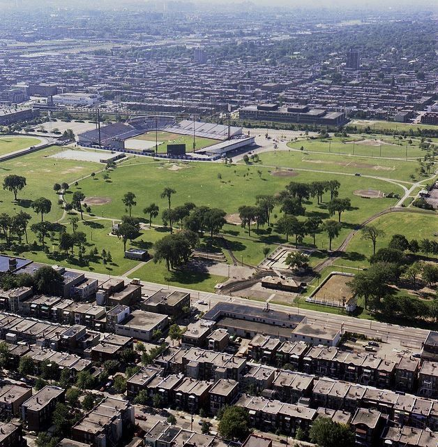 Montreal, 1976 - Aerial view of Jarry Park, with Park Extension in the background.