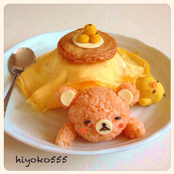 Rikakkuma Sleep in Kotatsu omelet rice...seriously, whoever made this is incredible