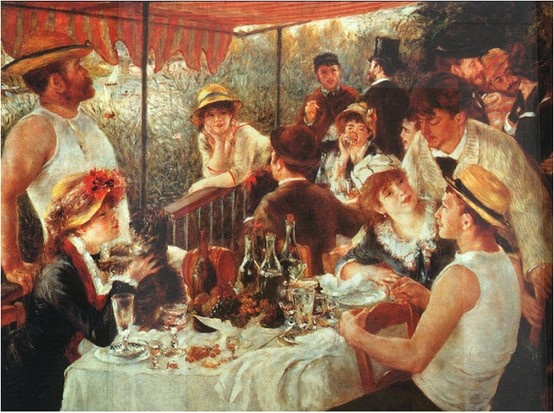 """The boating party lunch"" August Renoir 1881  사랑하는 알린느를 따뜻한 시선으로 담아낸 르누아르, 그리고 그녀가 사랑스러운 눈길로 바라보는 그녀의 강아지! 르누아르의 작품 중 가장 행복한 작품이라고 평가될 만하다:  )"