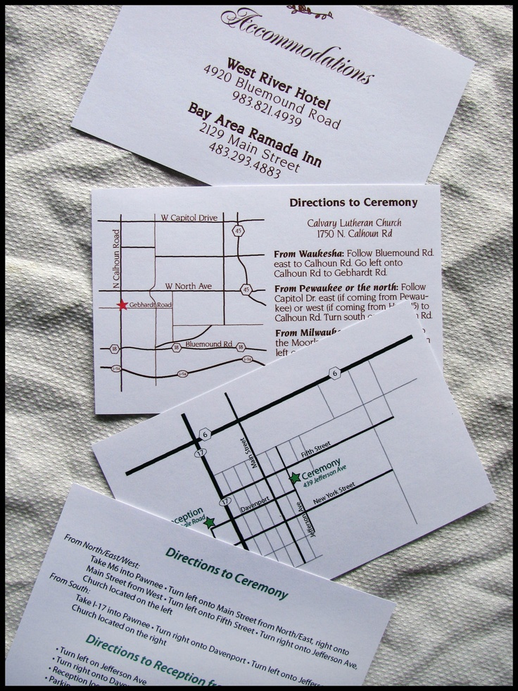 Custom Map, Directions, and Accommodations Card. $0.75, via Etsy.