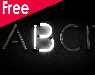 """Free Neon Alphabet Download Cinema 4dA neon alphabet made in cinema 4d .. I render two frame and blend it in adobe after effect, first frame without luminance in """"glow"""" material and second frame with luminance in """"glow"""" material ((global illumination mu…"""