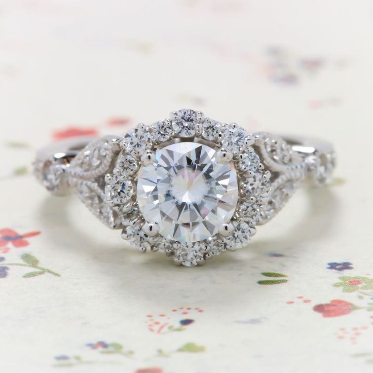 Vintage Floral Style Halo Engagement Ring - Lilly