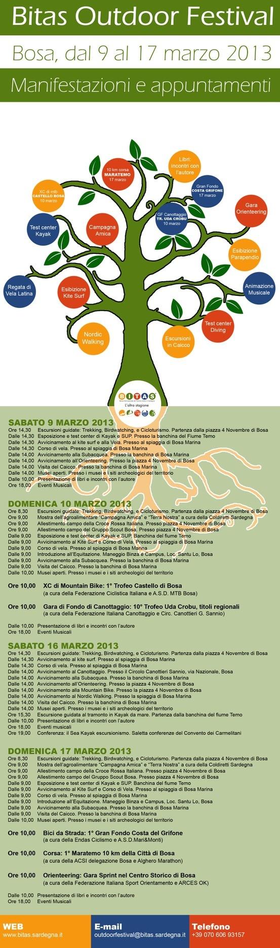 Programma degli eventi collaterali alla Bitas 2013 che animeranno il territorio di Bosa dal 9 al 17 marzo