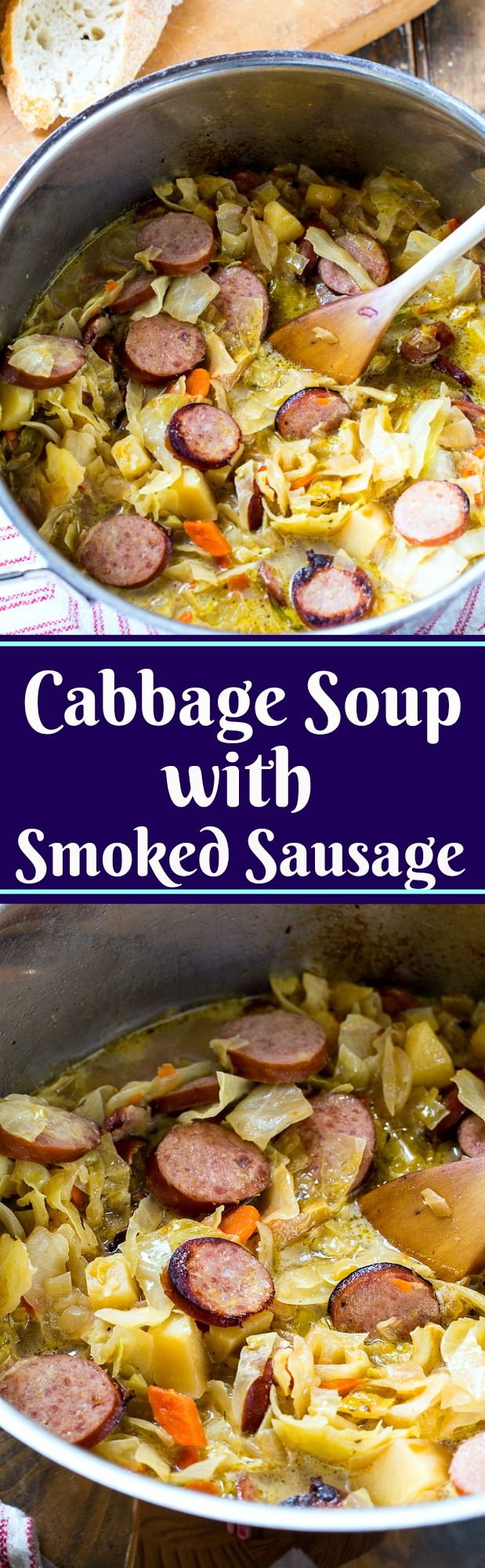 Cabbage Soup with Smoked Sausage #soup #sausage #cabbage