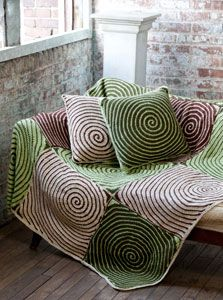 Caron International | Free Project | Vortex Afghan and Pillows