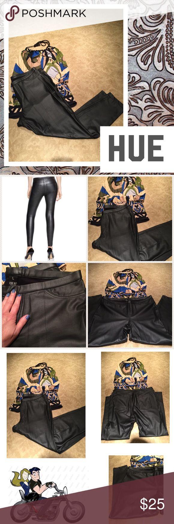 🏍HUE faux leather leggings🏍 Black faux leather HUE leggings. Flat front w back pockets. HUE Pants Leggings