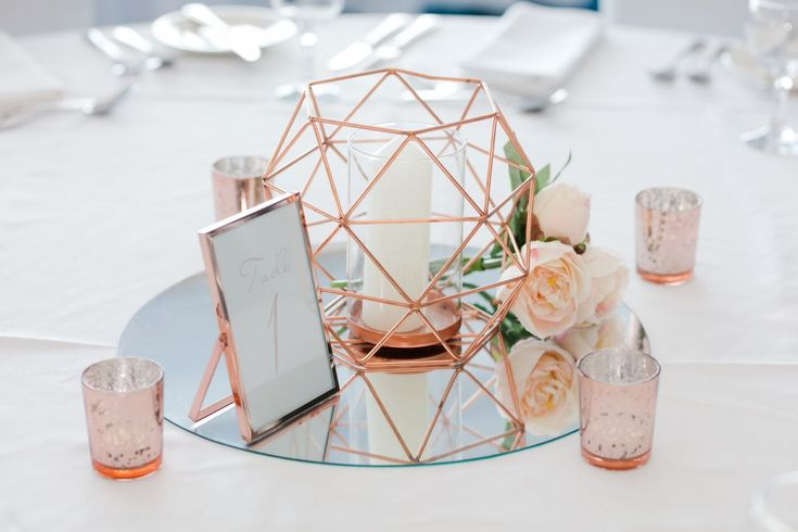 Rose Gold centrepiece with geometric candle holder & rose gold fleck shot tealig…
