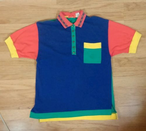vtg 80s 90s cross colours style color block polo surf