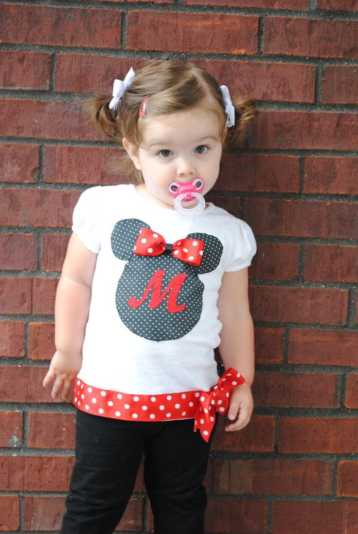 Personalized Minnie Mouse Toddler/Children Shirt. via Etsy.