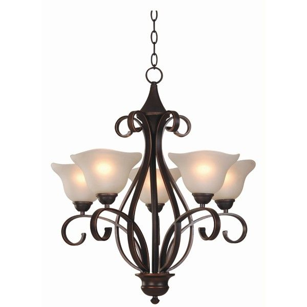 Madrid 5 Light Pendant in Bronze with Frost Glass