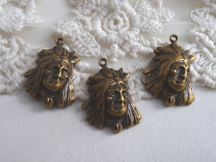 6- Indian Head Charms Vintage Antique Brass Feather Head Dress American Indian Chiefs Native American Charms BuyDiy Craft Supplies Inv0466 by BuyDiy on Etsy