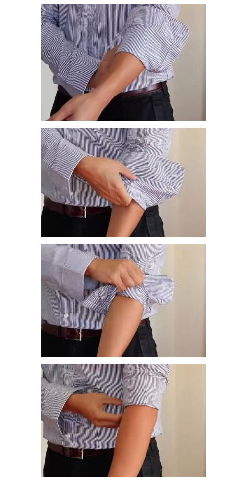 How to Roll Your Sleeves the Right Way | Roll your sleeve up so that it the cuff falls right below your elbow. Then, roll up once or twice to cover the cuff.